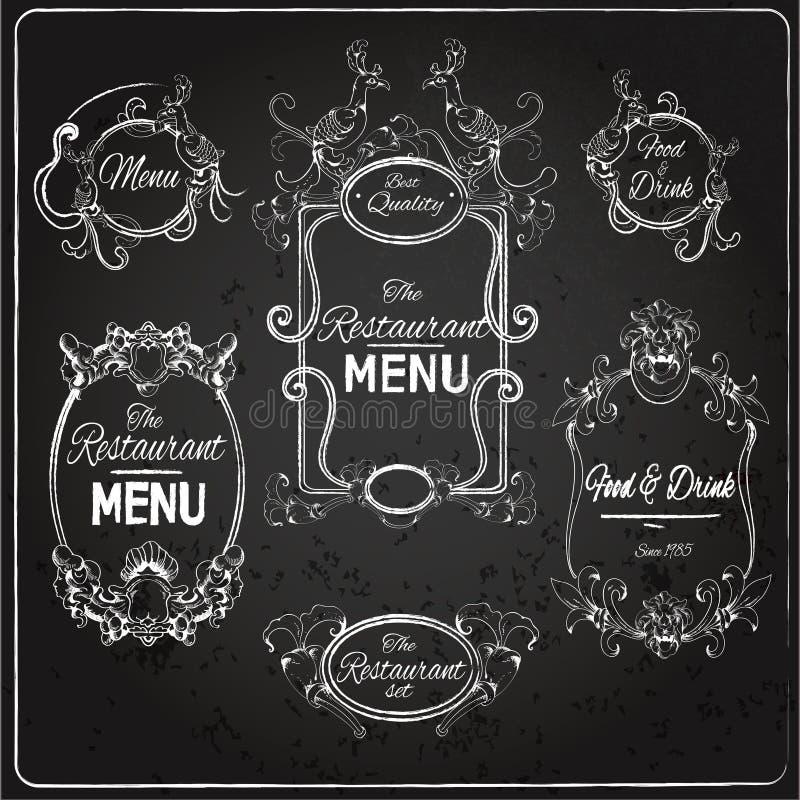 Restaurangen märker den svart tavlan stock illustrationer