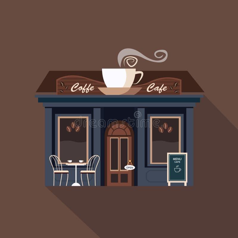 Restauranger och shoppar fasaden, skyltfönstervektor royaltyfri illustrationer