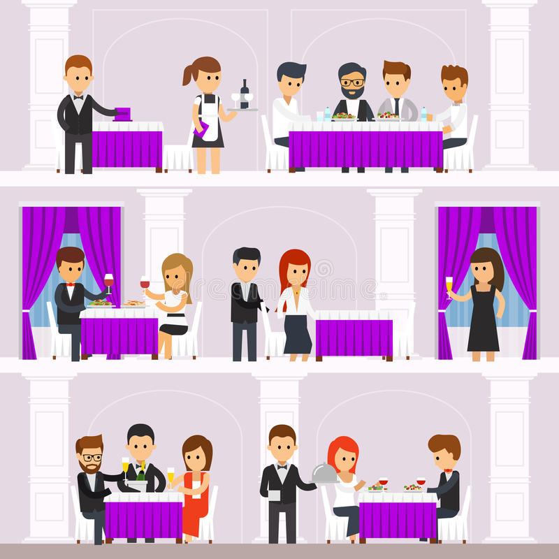 Restauranginre med folk som vilar, folk beställer mat, kommer med uppassare disk, män, och kvinnor äter stock illustrationer