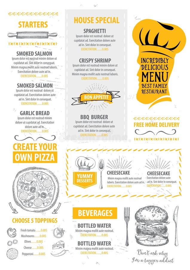 Restaurangkafémeny, malldesign vektor illustrationer