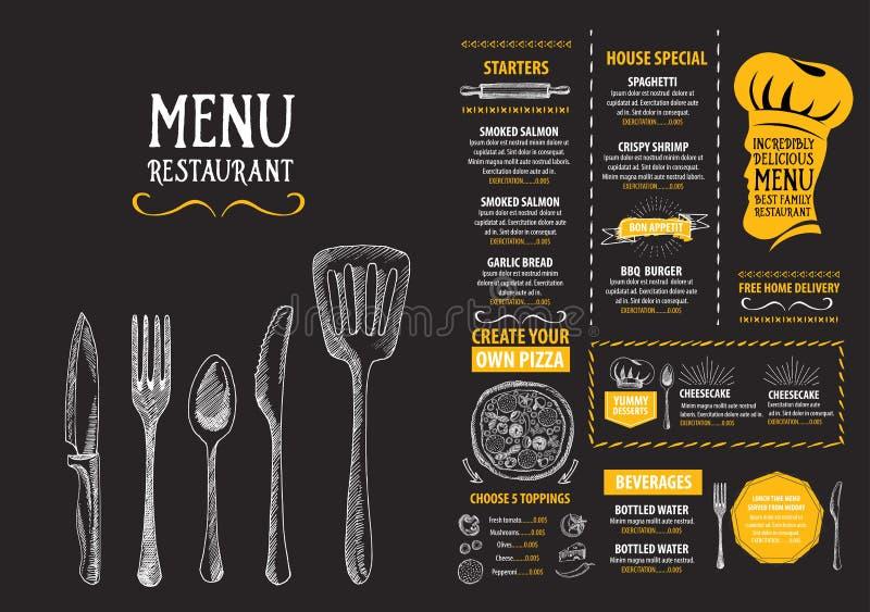 Restaurangkafémeny, malldesign Matreklamblad stock illustrationer