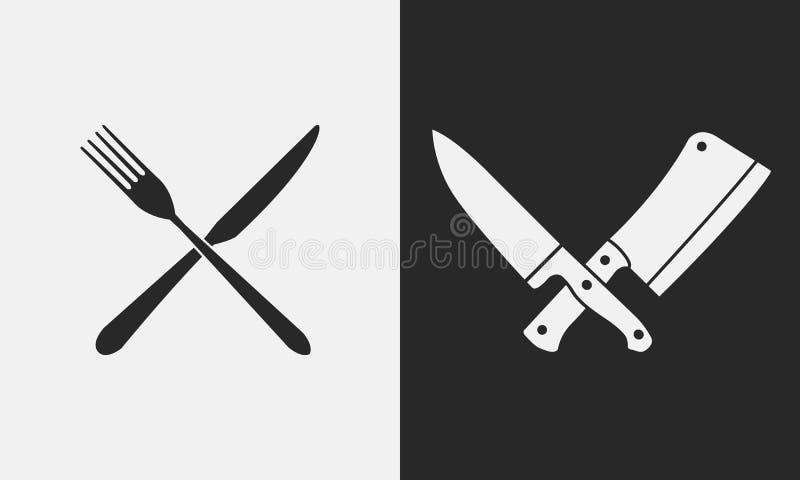 Restaurangknivsymboler Kontur av gaffeln och kniven, slaktareknivar Logo emblem stock illustrationer