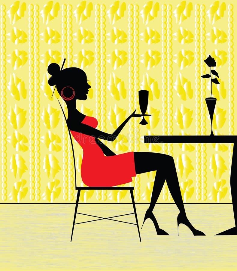 restaurangkvinna stock illustrationer