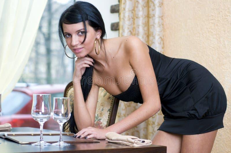 restaurangkvinna arkivbilder