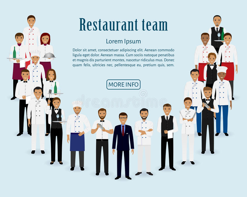 Restauranglag Grupp av chefen, kock, uppassare, kock, bartendrar som tillsammans står Baner för website för tjänste- personal för stock illustrationer