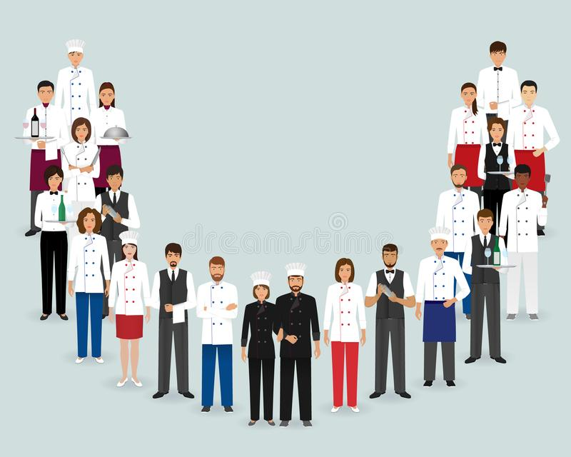Restauranglag Gruppera kocken, kockar, uppassare, bartendrar som tillsammans står Tjänste- personal för mat royaltyfri illustrationer