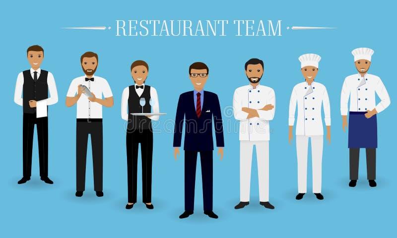 Restauranglagbegrepp Grupp av tecken som tillsammans står: chef, kock, kock, två uppassare och bartender i likformig royaltyfri illustrationer