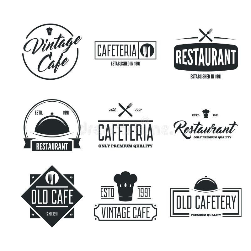 Restauranglogoer, förser med märke och uppsättningen för etikettdesignbeståndsdelar i tappningstil vektor illustrationer