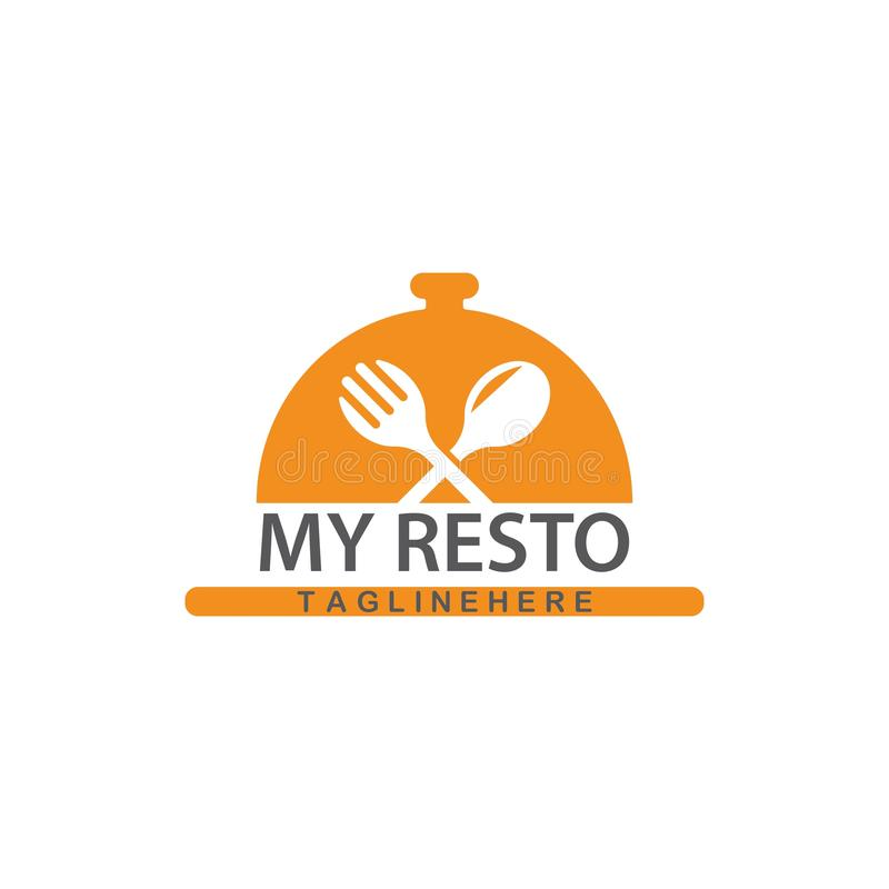 Restauranglogovektor stock illustrationer