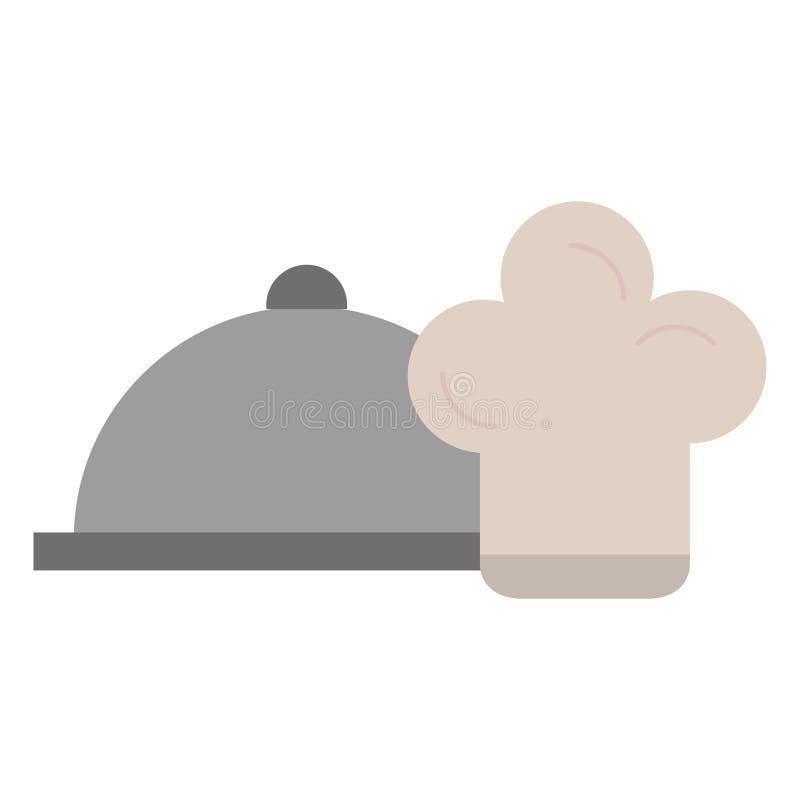 Restaurangmagasinserver med kockhatten vektor illustrationer
