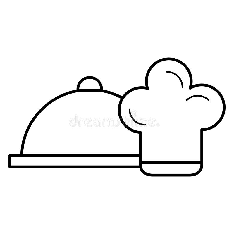 Restaurangmagasinserver med kockhatten stock illustrationer