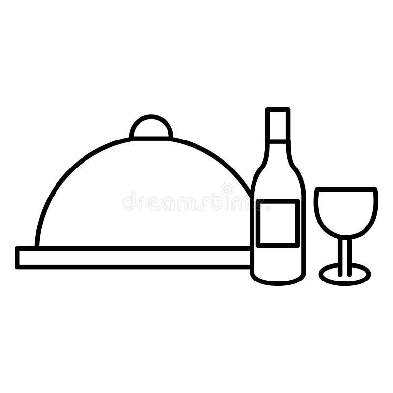 Restaurangmagasinserver med vin stock illustrationer