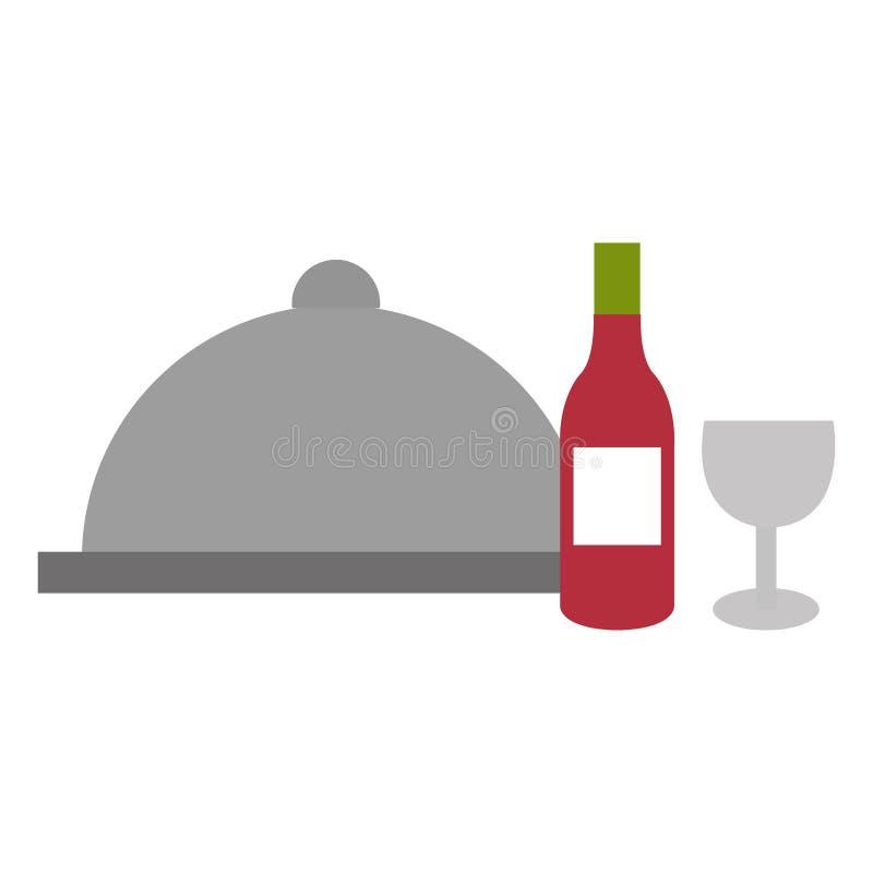 Restaurangmagasinserver med vin royaltyfri illustrationer