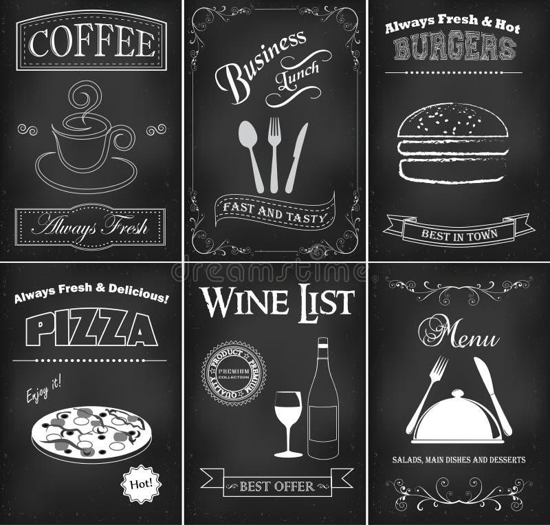 Restaurangmalluppsättning vektor illustrationer