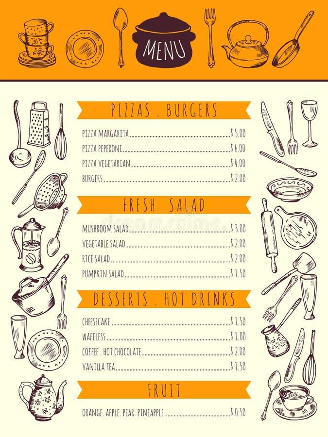 Restaurangmatmeny för lunch Hand drog bilder av kökhjälpmedel också vektor för coreldrawillustration stock illustrationer