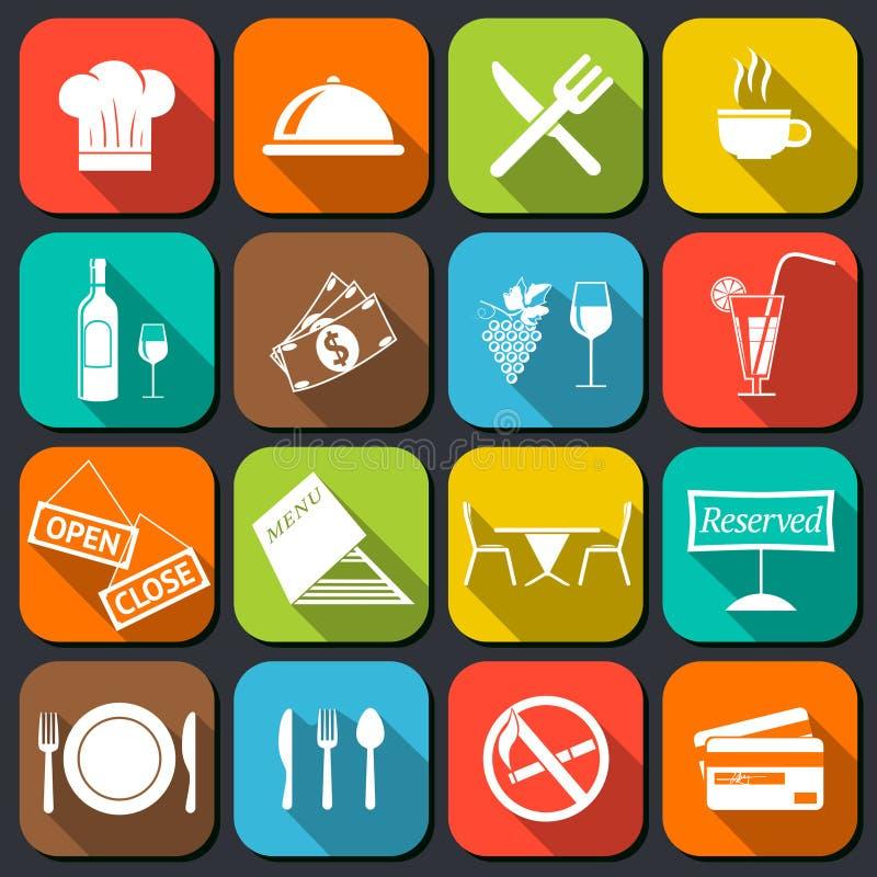 Restaurangmatsymboler sänker stock illustrationer