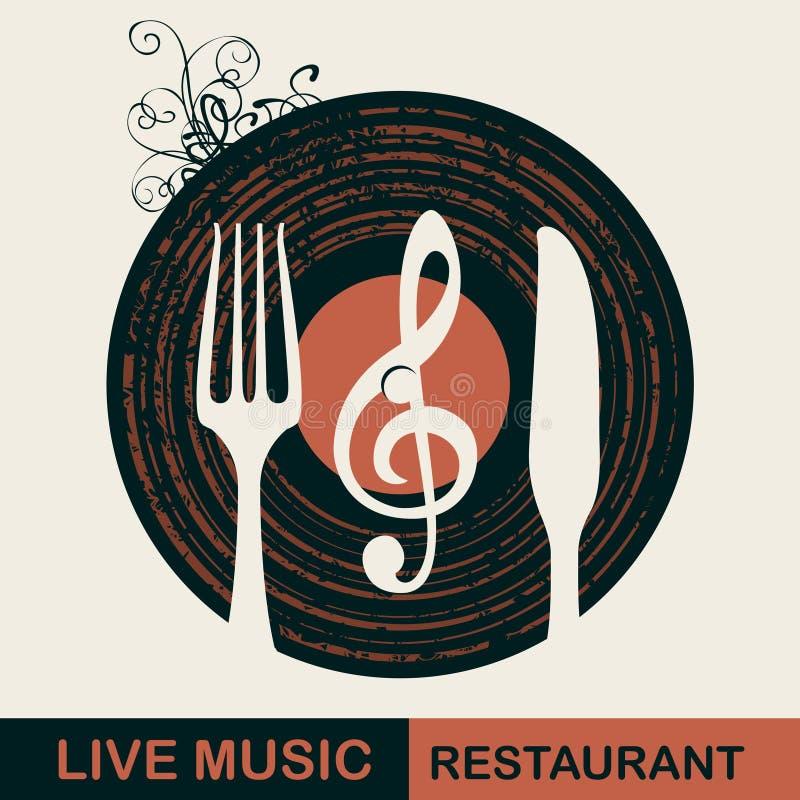 Restaurangmeny med vinylrekordet och bestick vektor illustrationer