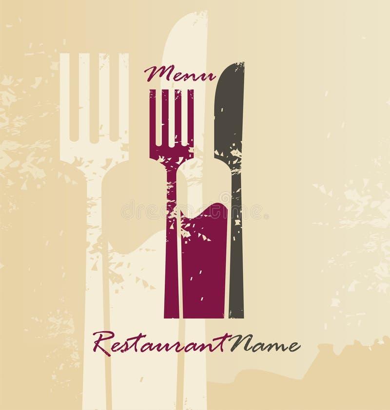 Restaurangmeny och logodesign royaltyfri illustrationer