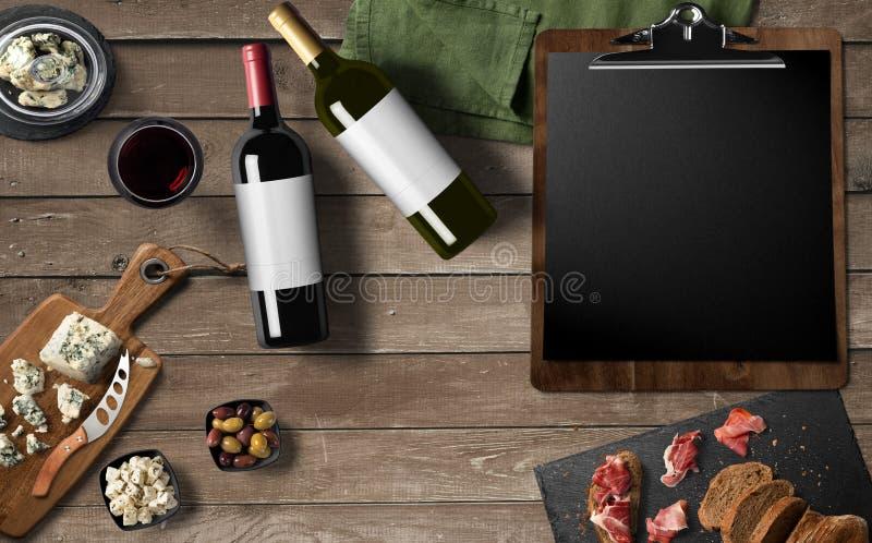 Restaurangmenydesign, rött vin, vitt vin, ostcamembert, royaltyfri foto