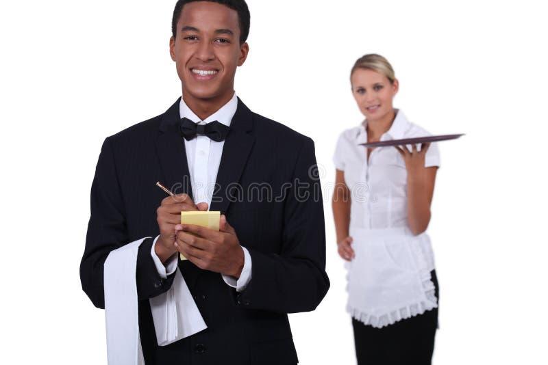 Restaurangpersonal arkivbild
