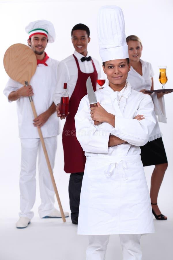 Restaurangpersonal arkivbilder