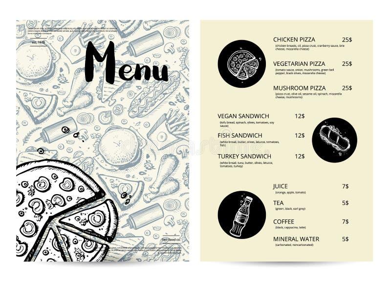 Restaurangsnabbmatmeny med priser vektor illustrationer