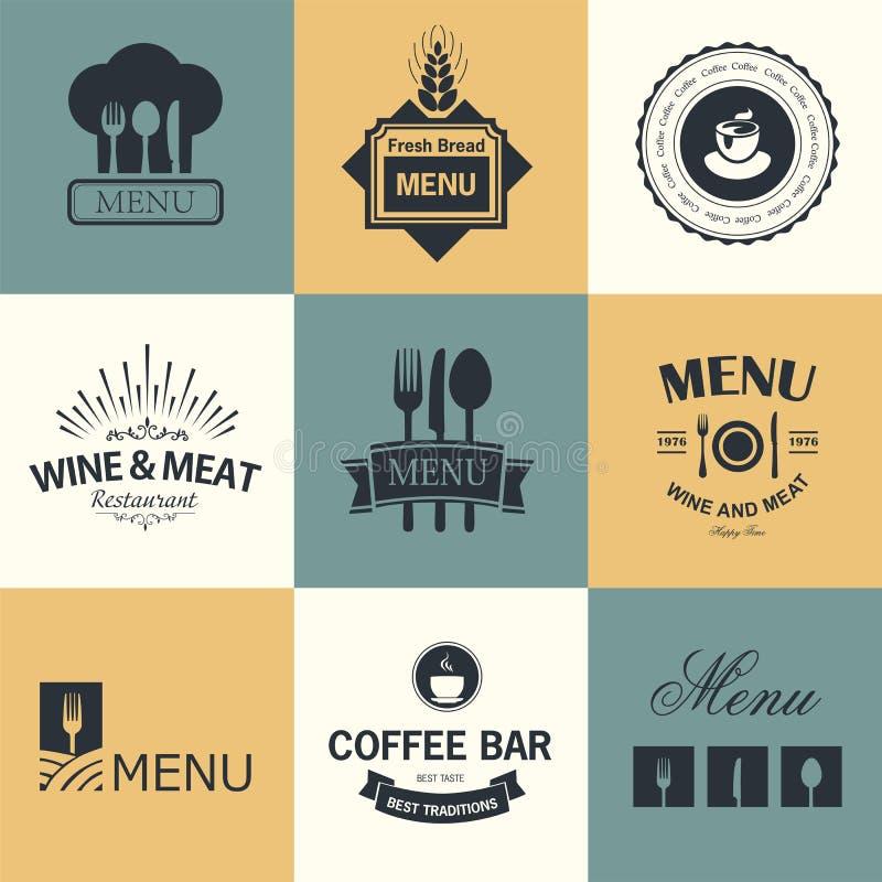 Restaurangtecken vektor illustrationer