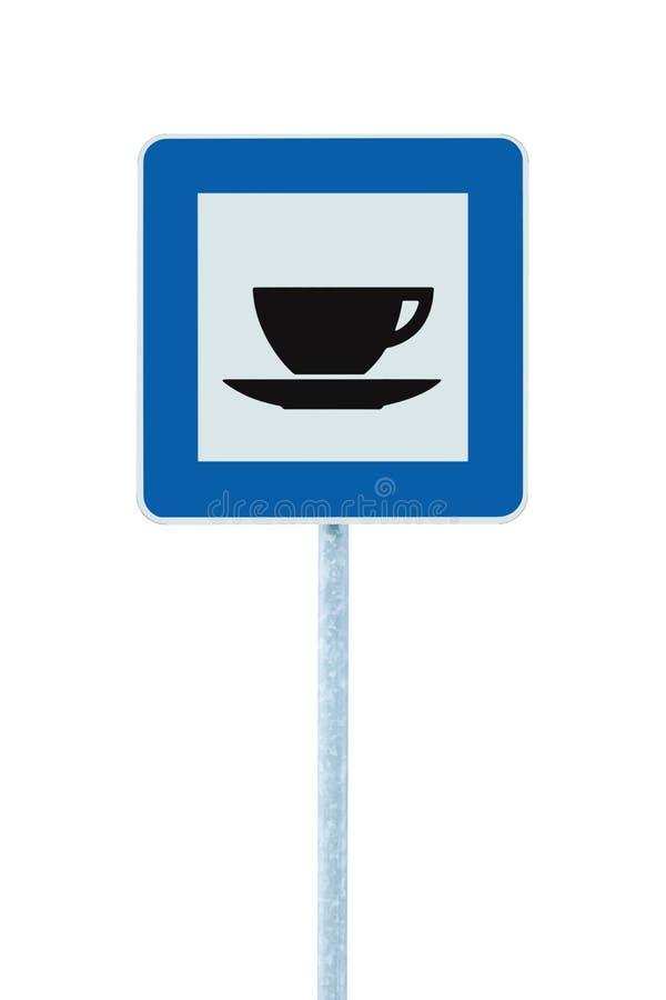 Restaurangvägmärke på stolpepolen, trafikroadsign, blå isolerad kafeteria för kafé för bistromatställestång som sköter om kaffete royaltyfria bilder