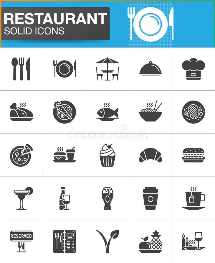 Restaurangvektorsymboler ställde in, den moderna fasta symbolsamlingen vektor illustrationer