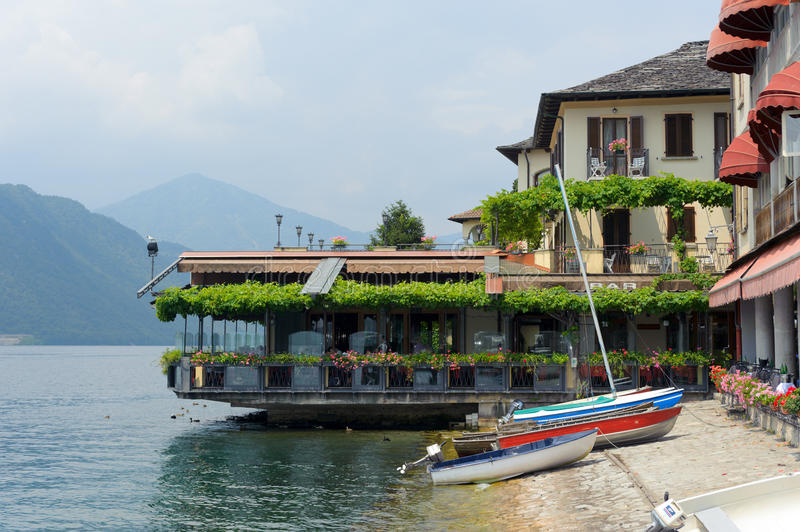 Restaurant. On the bank in Orta, Italian Lake District royalty free stock photo