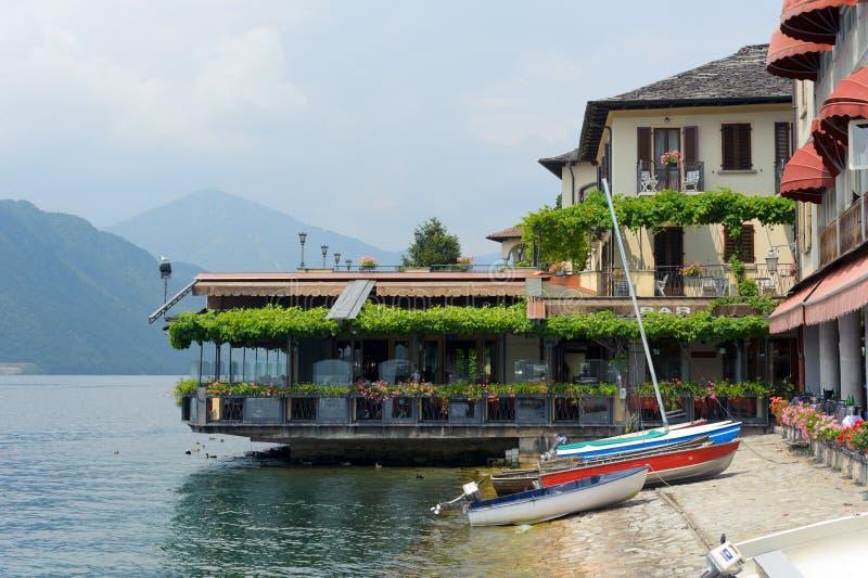 Restaurant. On the bank in Orta, Italian Lake District stock photo