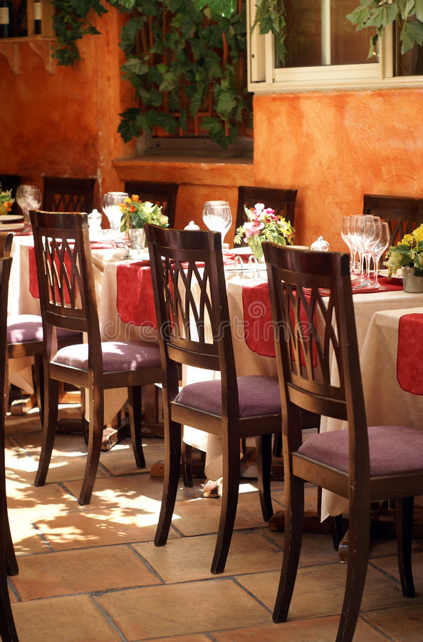 Restaurant. Nice luxury restaurant in st. tropez royalty free stock photography