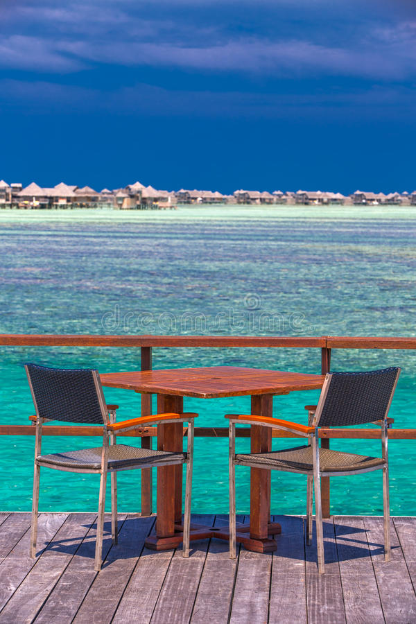 Free Restaurant Above The Beautiful Lagoon On Tropical Island, Maldives Stock Photo - 73038780