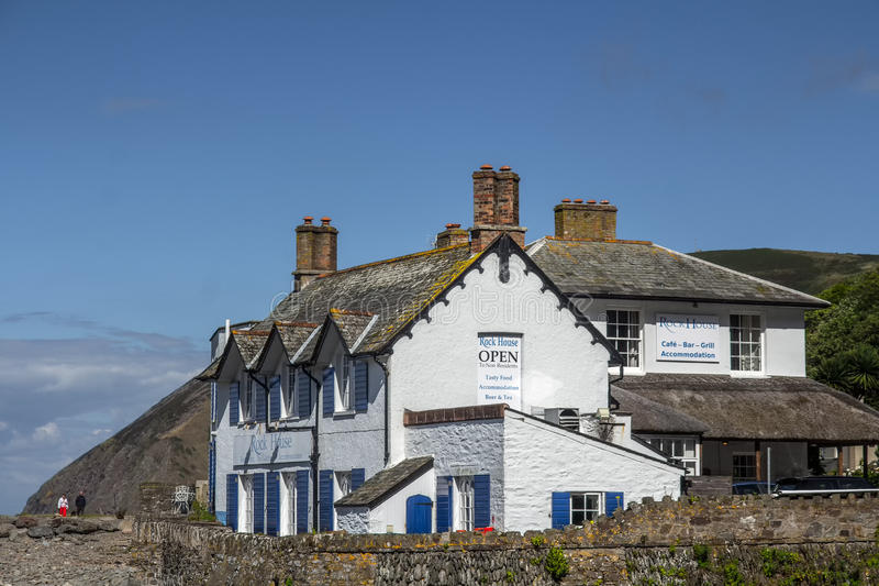 Restaurant and Accommodations - Rock House. Lynmouth. Lynmouth, North Devon, England, 13 July 2016: Restaurant and Accommodations - Rock House. Lynmouth royalty free stock photography