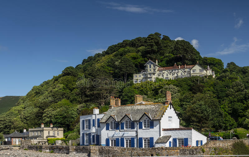 Restaurant and Accommodations - Rock House. Tors Hotel on the hill. Lynmouth, Devon, England, 13 July 2016: Restaurant and Accommodations - Rock House. Tors stock photos