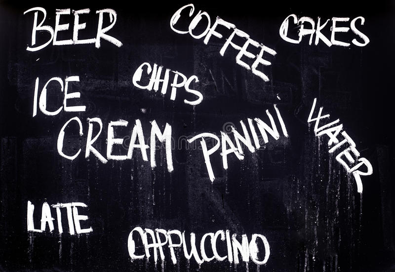 Restaurant Advertising Blackboard with Food and Drink List in Ch royalty free stock photography