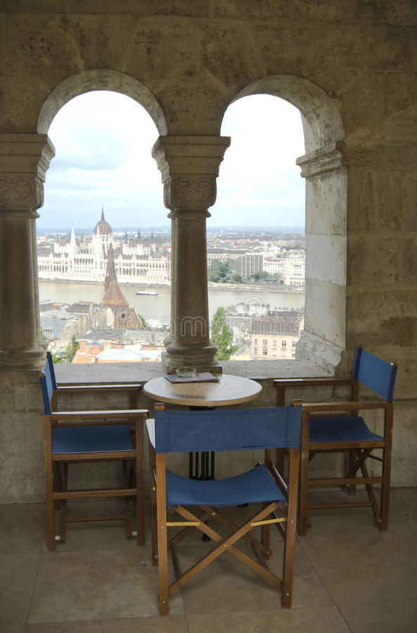Restaurant With An Aerial View On Budapest City Stock Images