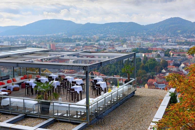 Restaurant auf dem Schlossberg Schlossberg Graz, Österreich lizenzfreie stockfotografie