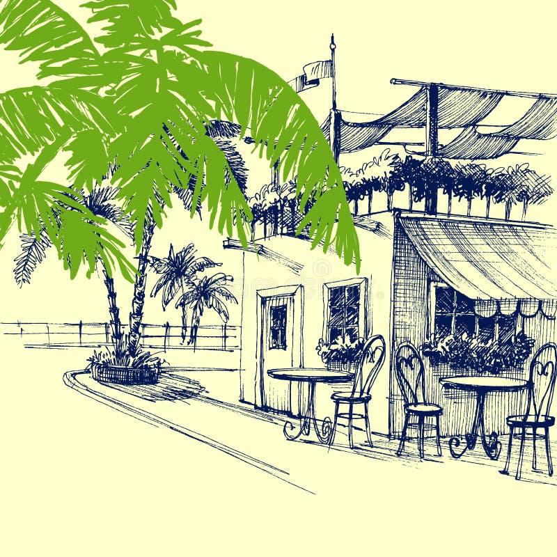 Restaurant auf dem Strand vektor abbildung