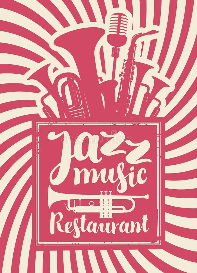 Restaurant avec la musique de jazz illustration de vecteur