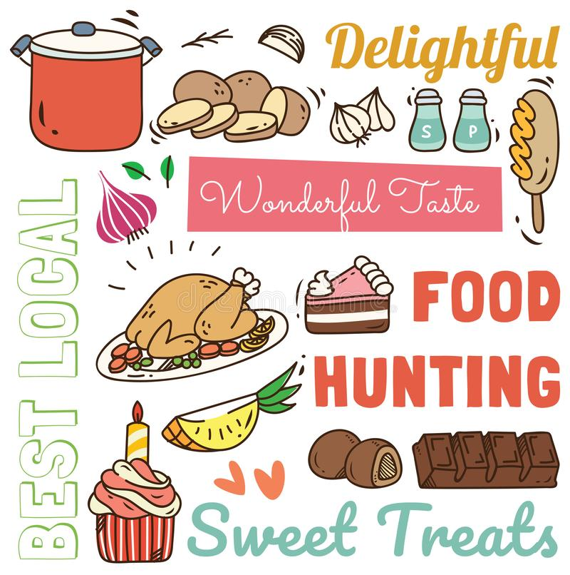 Restaurant background with various food and drink doodle vector illustration