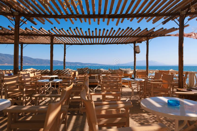 Restaurant Balcony of Wood in Greece stock images