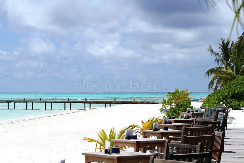 Restaurant on the beach royalty free stock photos