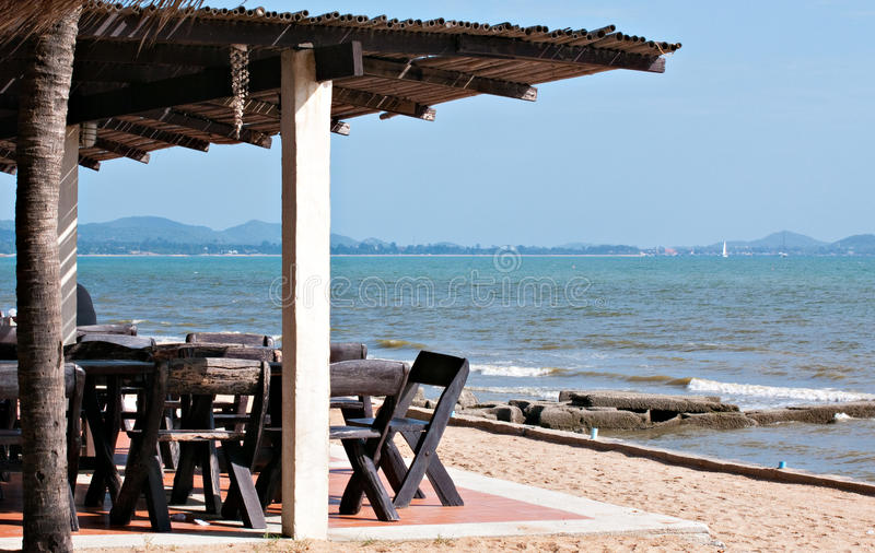Download Restaurant at the beach stock photo. Image of roof, chonburi - 26786574