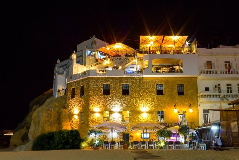 Restaurant by the beach in Algarve stock photos