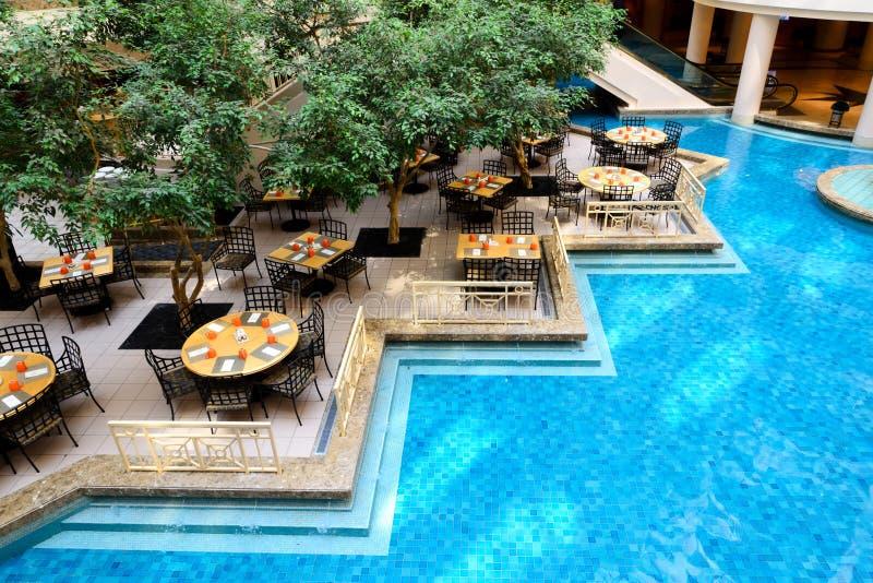 restaurant bij hotelhal stock foto's