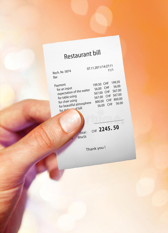 Download Restaurant bill stock photo. Image of bill, defray, joint - 27183428