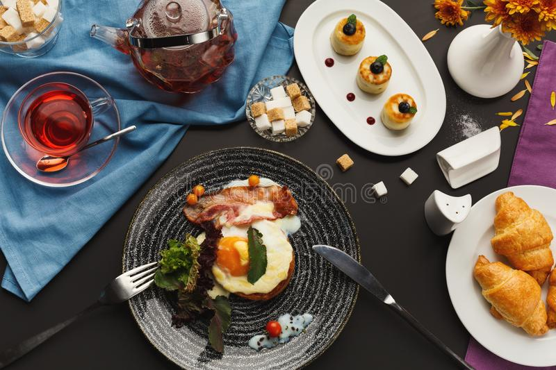 Download Restaurant Breakfast With Bacon And Fried Eggs Stock Photo - Image of fried, crispy: 111348100