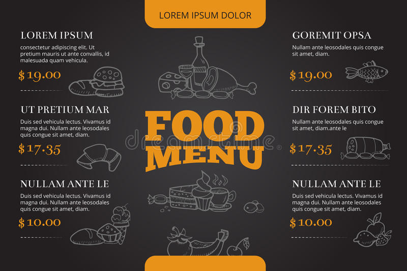 Restaurant brochure menu vector design with hand drawn