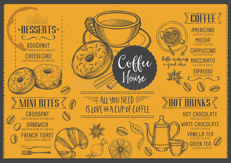 Restaurant brochure vector coffee shop stock
